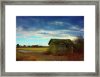 Shack And Moody Skies Framed Print by Paul Kloschinsky