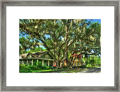 Shade Southern Live Oak Trees Framed Print by Reid Callaway