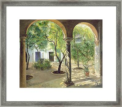 Shaded Courtyard, Vianna Palace, Cordoba Framed Print