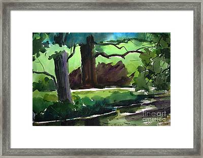 Shaded Mirror On Mississinew River Matted Glassed Farmed Framed Print by Charlie Spear