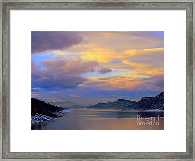Shades Of Lake Sunsets-1 Framed Print by Diane M Dittus