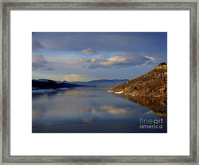 Shades Of Lake Sunsets - 3 Framed Print by Diane M Dittus