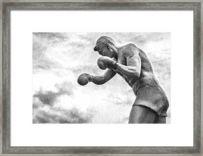 Shadow Boxer Stone Man Statue Oil Framed Print by John Williams