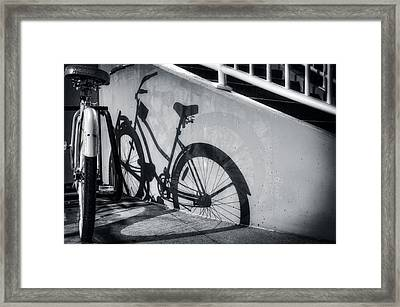 Shadow Of A Bike At Carolina Beach Framed Print