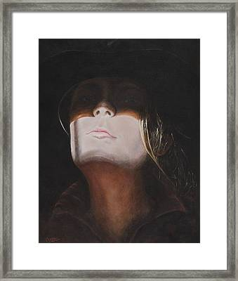 Shadow Of A Cowgirl Framed Print by Traci Goebel