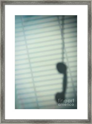 Shadow Of Hanging Phone Receiver Framed Print