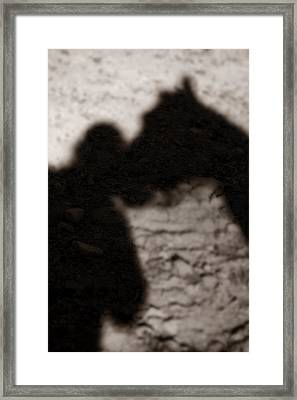 Shadow Of Horse And Girl - Vertical Framed Print by Angela Rath