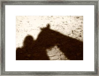 Shadow Of Horse And Girl Framed Print by Angela Rath