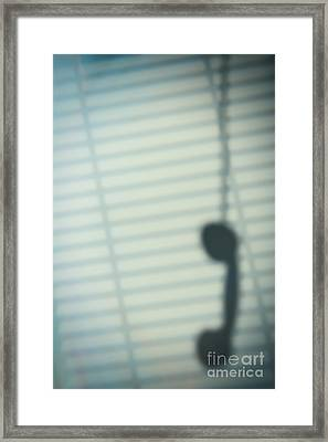 Shadow Of Telephone Receiver Framed Print by Amanda Elwell