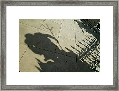 Shadow Of The Statue Of Neptune Framed Print by Todd Gipstein