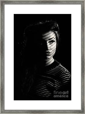 Shadow Over Womans Face Framed Print