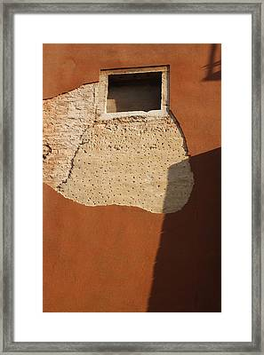 Shadow With Square Window In Venice Framed Print by Michael Henderson