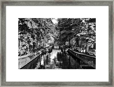Shadows Along The Amsterdam Canal Mono Framed Print