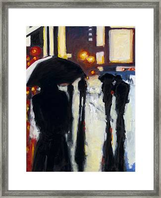 Shadows In The Rain Framed Print