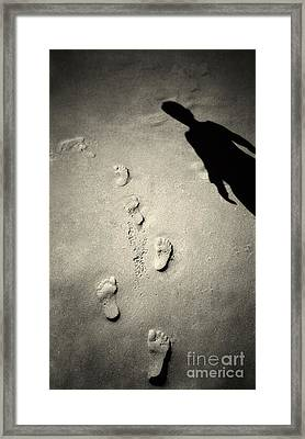 Shadows In The Sand Framed Print by Linda Matlow
