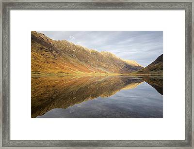Shadows, Light And Reflections On Loch Achtrocitan Framed Print