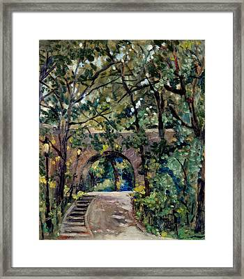 Shady Path Near The Cloisters Fort Tryon Park Nyc Framed Print by Thor Wickstrom