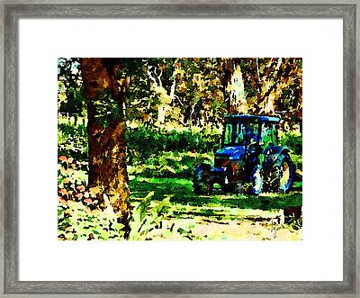 Framed Print featuring the painting Shady Tractor by Angela Treat Lyon