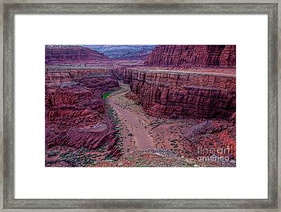 Shafer Canyon At Sunset - Moab - Utah Framed Print by Gary Whitton