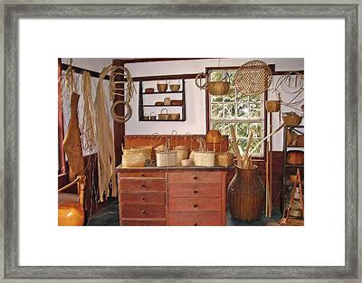 Shaker Basket Weaving Shop Framed Print