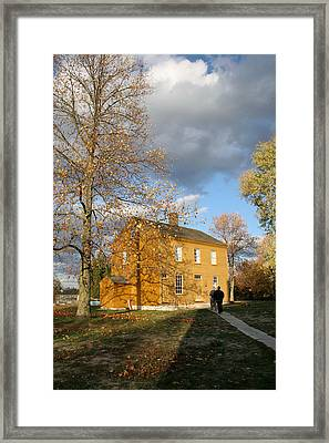 Shaker Building In The Fall Framed Print by Angie Bechanan