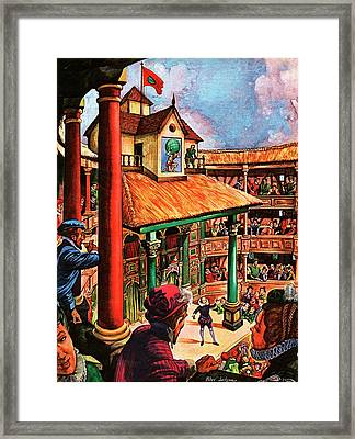 Shakespeare Performing At The Globe Theater Framed Print by Peter Jackson