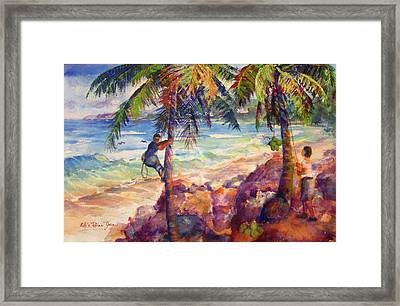 Shaking Down Coconuts Framed Print by Estela Robles
