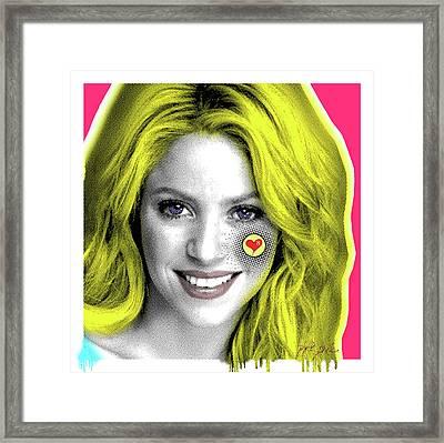 Shakira, Pop Art, Pop Art, Portrait, Contemporary Art On Canvas, Famous Celebrities Framed Print by Dr Eight Love