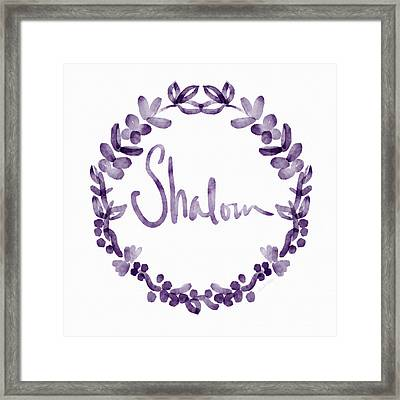 Shalom Wreath- Art By Linda Woods Framed Print