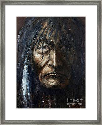 Framed Print featuring the painting Shaman by Arturas Slapsys