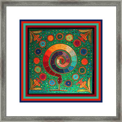 Shaman Serpent Ritual Framed Print by Vagabond Folk Art - Virginia Vivier