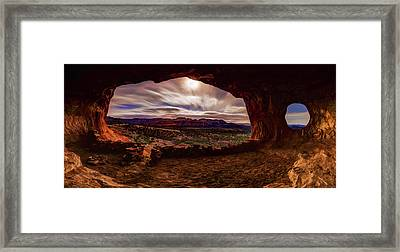 Shaman's Cave By Moonlight Framed Print by ABeautifulSky Photography