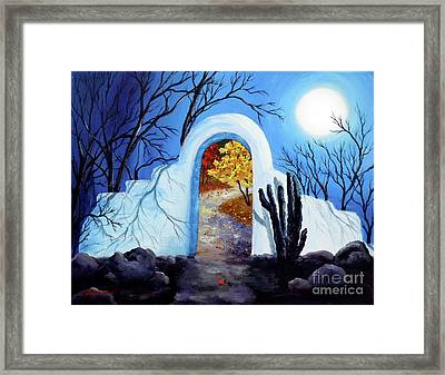 Shamans Gate To Autumn Framed Print by Laura Iverson