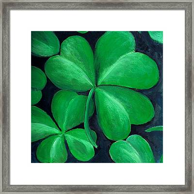 Shamrocks Framed Print by Nancy Mueller