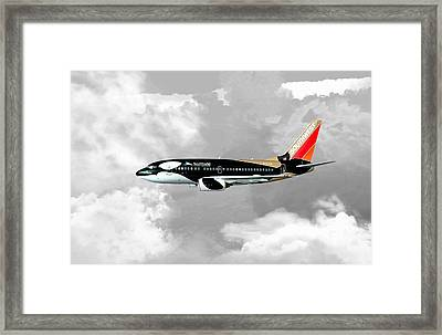 Framed Print featuring the digital art Shamu 01 by Mike Ray