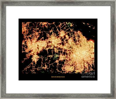 Framed Print featuring the photograph Shanghai From Space by Delphimages Photo Creations