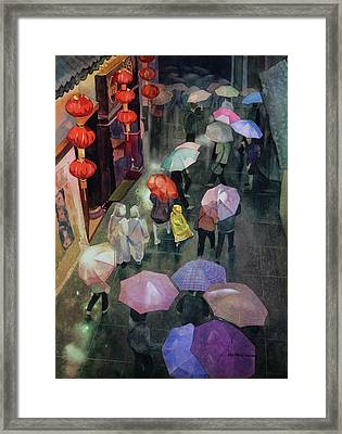 Shanghai Shoppers Framed Print by Kris Parins
