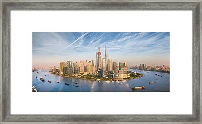 Shanghai Skyline Framed Print by Anek Suwannaphoom