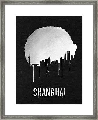 Shanghai Skyline Black Framed Print