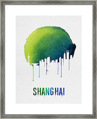 Shanghai Skyline Blue Framed Print
