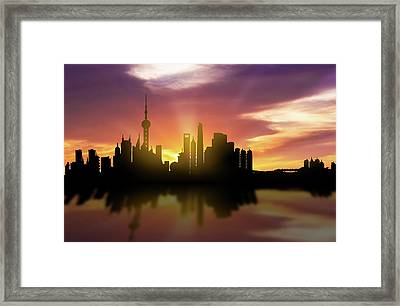 Shanghai Skyline Sunset Chsh22 Framed Print