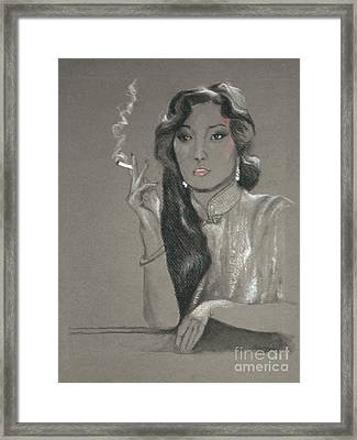 Shanghai Triad -- Portrait Of Chinese Film Star Framed Print