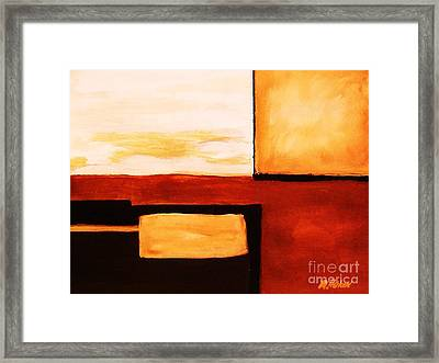 Shaped Abstract Red Tone L Framed Print by Marsha Heiken