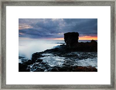 Shaped By The Waves Framed Print by Mike  Dawson