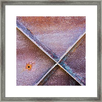 Framed Print featuring the photograph Shapes And Textures On Bunker Door by Gary Slawsky