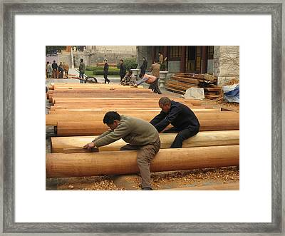 Shaping Columns Framed Print by James Lukashenko