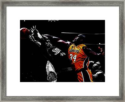 Shaq Protecting The Paint Framed Print by Brian Reaves