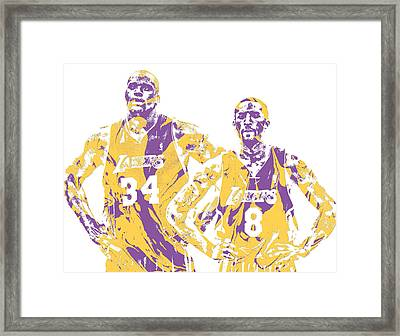 Shaquille Oneal Kobe Bryant Los Angeles Lakers Pixel Art 1 Framed Print