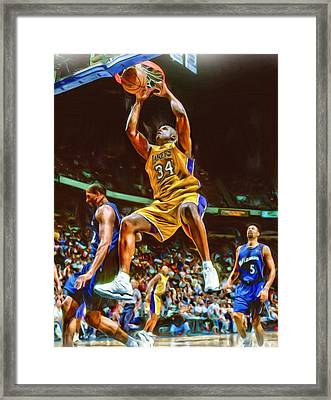 Shaquille O'neal Los Angeles Lakers Oil Art Framed Print