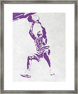 Shaquille O'neal Los Angeles Lakers Pixel Art Framed Print by Joe Hamilton